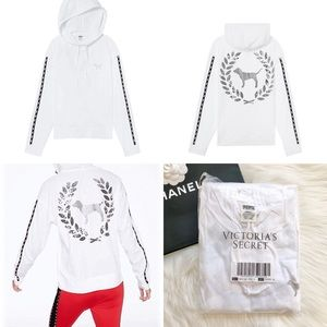VS Pink White Campus Tee Silver Bling Hoodie L NEW
